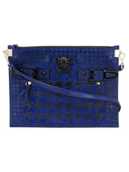 Versace Houndstooth Pattern Medusa Clutch Black