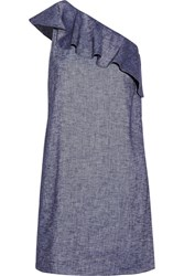 Theory Alexandra One Shoulder Ruffled Linen Blend Mini Dress Blue