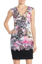French Connection Floral Print Stretch Sheath Dress Black