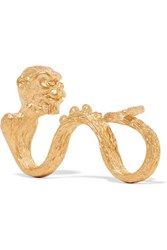 Valentino Monkey Gold Plated Three Finger Ring One Size