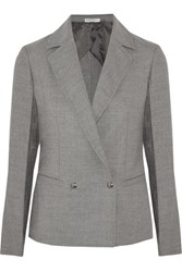 Barbara Casasola Double Breasted Wool Blend Blazer Gray