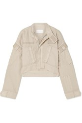 Re Done Cropped Cotton Ripstop Jacket Beige
