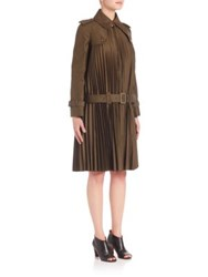 Junya Watanabe Cotton Twill Plisse Trench Coat Brown