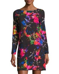 Milly Long Sleeve Floral Print Shift Dress Multi