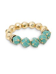 Saks Fifth Avenue Enameled And Faceted Bead Stretch Bracelet Turquoise Gold Turquoise