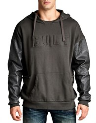 Cult Of Individuality Faux Leather Hoodie Grey