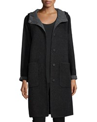 Eileen Fisher Alpaca Double Face Knee Length Coat Grey