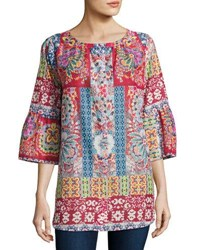 Johnny Was Brock Button Front Cotton Top Multi