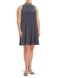 Isaac Mizrahi Mockneck Sleeveless Dress Gunmetal