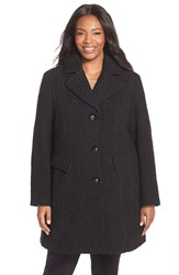 Plus Size Women's Gallery Wool Blend Basket Weave Notch Collar Coat Black