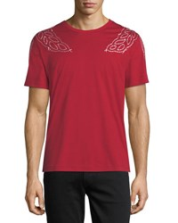 Mcm Laurel Embroidered T Shirt Tropical Red
