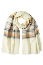 Closed Cotton Linen Striped Scarf Beige