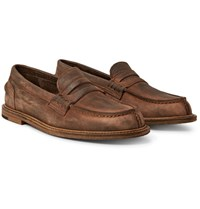 Hender Scheme Split Toe Distressed Suede Penny Loafers Brown