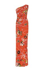 Emilio Pucci One Shoulder Ruched Long Dress Print
