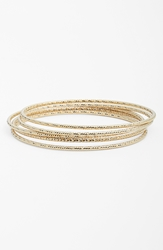 Nordstrom Textured Bangles Set Of 5 Gold