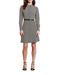 Lauren Ralph Lauren Houndstooth Crepe Shirtdress Ivory Black