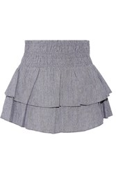 Apiece Apart Analisa Tiered Woven Cotton Mini Skirt Blue
