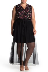 Vince Camuto Tulle Maxi Skirt Plus Size Rich Black