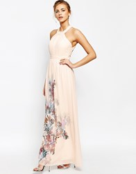 Little Mistress High Neck Maxi Dress With Open Back Nude Floral Print