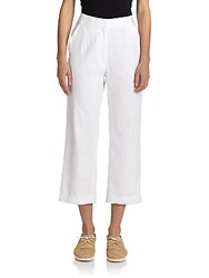 Suno Cropped Linen Pants White