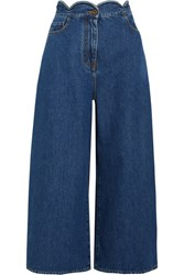 Valentino Cropped Scalloped High Rise Wide Leg Jeans Mid Denim