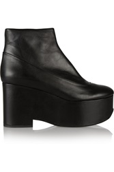 Jil Sander Leather Wedge Boots Black