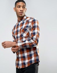 Esprit Shirt In Slim Fit Check Camel Beige
