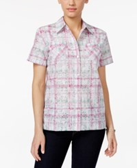 Alfred Dunner Petite Textured Plaid Shirt Multi