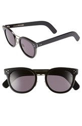 Cutler And Gross 52Mm Round Sunglasses Black Gold Metal Black Gold Metal
