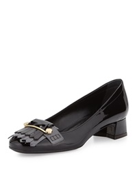 Tod's Tods Patent Fringe Front Low Heel Pump