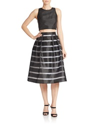 Xscape Evenings Cropped Top And Striped Skirt Two Piece Set Black White