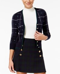 Xoxo Juniors' Plaid Cardigan Navy Plaid