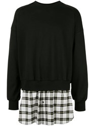 Juun.J Check Printed Back Zipped Sweatshirt Black