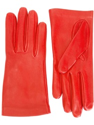 Alexander Mcqueen Lambskin Gloves Red