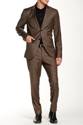 Tiger Of Sweden Brown Windowpane Two Button Peak Lapel Suit