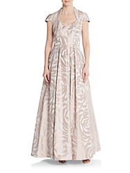 Theia Rose Print A Line Gown