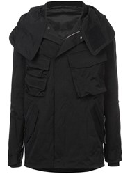 The Viridi Anne Boxy Hooded Jacket Black