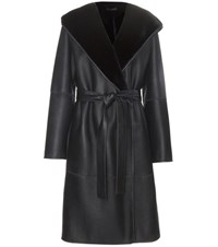 The Row Mosira Reversible Fur Lined Leather Coat Blue