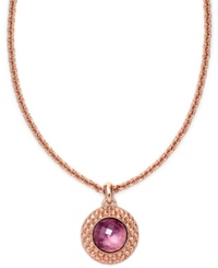 Bronzarte 18K Rose Gold Over Sterling Silver Necklace Amethyst Round Pendant 14 3 8 Ct. T.W
