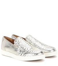See By Chloe Metallic Quilted Leather Slip On Sneakers