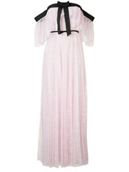 Giambattista Valli Off Shoulder Pleated Lace Gown Women Silk Polyamide Viscose 44 Pink Purple