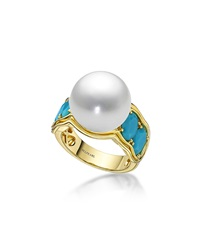 Aura South Sea Pearl And Turquoise Ring Belpearl