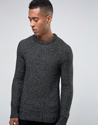 New Look Crew Neck Jumper In Black Marl Black