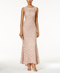 Nightway Illusion Sequined Lace Train Gown Rose Gold