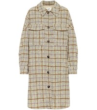 Etoile Isabel Marant Oario Checked Wool Coat Beige