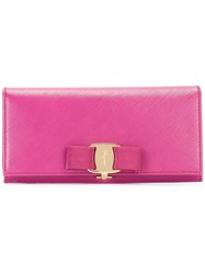 Salvatore Ferragamo 'Vara' Bow Wallet Pink Purple