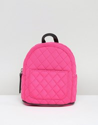 New Look Mini Neon Quilted Backpack Pink