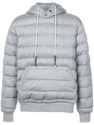 Mostly Heard Rarely Seen Knit Quilted Pull Over Hoodie Cupro Tencel L Grey