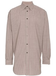 Raf Simons Elasticated Back Check Shirt Nude And Neutrals