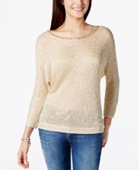 Xoxo Juniors' Chain Detail Sequin Pullover Sweater White